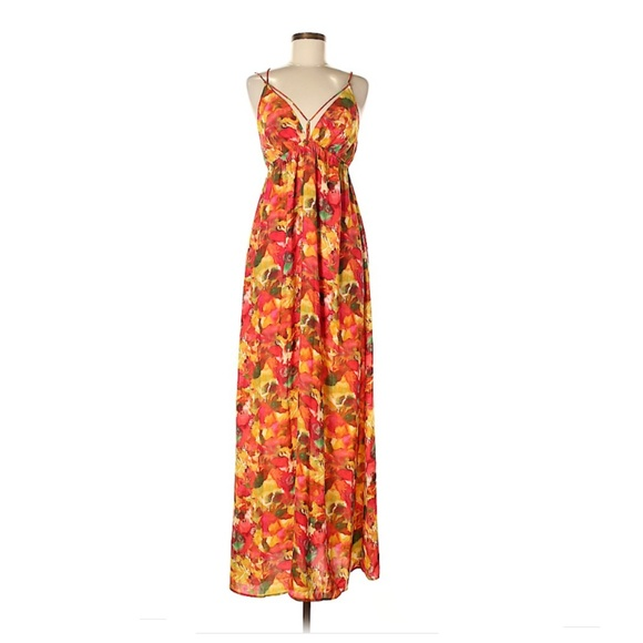 8e4262ee537 BB Dakota Orange Floral Print Maxi Dress in Size M